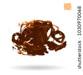 orange brush stroke and texture.... | Shutterstock .eps vector #1030970068