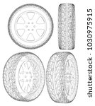 car or truck tire drawing... | Shutterstock .eps vector #1030975915
