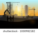 silhouette of engineer and... | Shutterstock .eps vector #1030982182