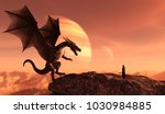 Stock photo knight and the dragon in magical landscape d art illustration for book illustration or book cover 1030984885