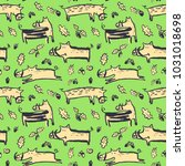 seamless pattern with cute... | Shutterstock .eps vector #1031018698