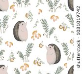 seamless pattern with hedgehog  ...   Shutterstock .eps vector #1031019742