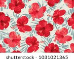 seamless pattern with hibiscus... | Shutterstock .eps vector #1031021365
