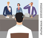 nervous man in the interview or ... | Shutterstock .eps vector #1031022016