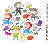 children theatre patterns.... | Shutterstock .eps vector #1031029642