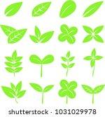 set of green leaves plant... | Shutterstock .eps vector #1031029978