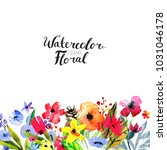 watercolor floral background.... | Shutterstock . vector #1031046178