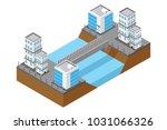 isometric highway bridge over... | Shutterstock .eps vector #1031066326