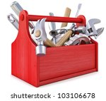 wooden toolbox with tools.... | Shutterstock . vector #103106678