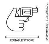 hand holding revolver linear... | Shutterstock .eps vector #1031068672