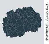 macedonia map on gray... | Shutterstock .eps vector #1031071675