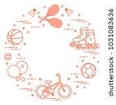 badminton rackets and... | Shutterstock .eps vector #1031083636