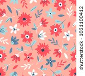 seamless flower pattern. flat... | Shutterstock .eps vector #1031100412
