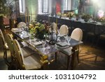 wedding table decor and flowers | Shutterstock . vector #1031104792