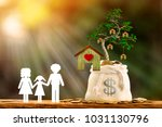 family with paper art and coin... | Shutterstock . vector #1031130796