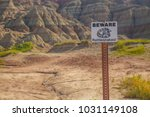 beware of rattlesnakes sign... | Shutterstock . vector #1031149108