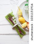 easter table setting with... | Shutterstock . vector #1031151916