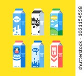 set of milk carton boxes with a ... | Shutterstock .eps vector #1031154538