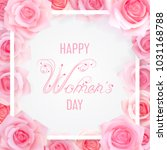 happy women day card with pink... | Shutterstock .eps vector #1031168788