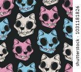 cat skull seamless pattern.... | Shutterstock .eps vector #1031181826