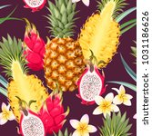 seamless pattern with pineapple ... | Shutterstock .eps vector #1031186626