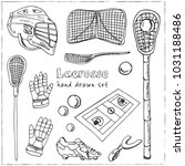 lacrosse hand drawn doodle set. ... | Shutterstock .eps vector #1031188486