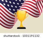 american waving flag behind a... | Shutterstock .eps vector #1031191132