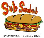 an image of a cold cut sub... | Shutterstock .eps vector #1031191828