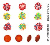 set of multicolored pom poms.... | Shutterstock . vector #1031194792