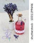 vintage glass bottle with...   Shutterstock . vector #1031199646