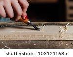 close up carpenter woman's hand ... | Shutterstock . vector #1031211685