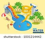aquapark horizontal web banner... | Shutterstock .eps vector #1031214442