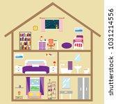 house cute. house inside vector ... | Shutterstock .eps vector #1031214556