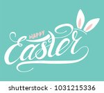 happy easter with rabbit ear ...   Shutterstock .eps vector #1031215336