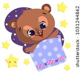 sleeping cartoon bear clipart... | Shutterstock .eps vector #1031244862