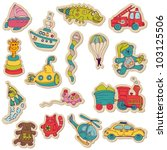 baby toys stickers   for design ... | Shutterstock .eps vector #103125506