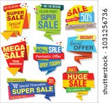 sale stickers and tags colorful ... | Shutterstock .eps vector #1031256736