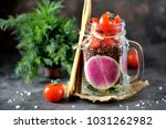 healthy salad from red quinoa ... | Shutterstock . vector #1031262982