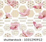 cherry blossom vector with... | Shutterstock .eps vector #1031290912
