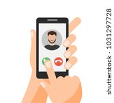 hand holding smartphone with... | Shutterstock .eps vector #1031297728
