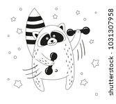 funny cartoon raccoon... | Shutterstock .eps vector #1031307958