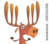 funny cartoon moose. vector... | Shutterstock .eps vector #1031311456