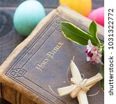 vintage leather bible with...   Shutterstock . vector #1031322772