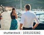 shy flirty woman smiling to a... | Shutterstock . vector #1031323282