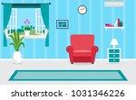 living room interior vector design | Shutterstock vector #1031346226