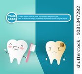tooth with decay concept on the ... | Shutterstock . vector #1031347282
