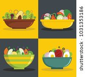 salad bowl banner horizontal...   Shutterstock . vector #1031353186