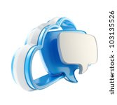Cloud conversation share talk blue icon isolated on white - stock photo