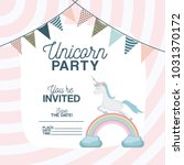 unicorn party invitation card... | Shutterstock .eps vector #1031370172