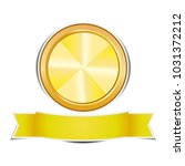gold circle banners on white...   Shutterstock .eps vector #1031372212